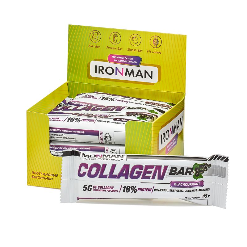 Collagen Bar с коллагеном, шоу-бокс 12x45г, смородина